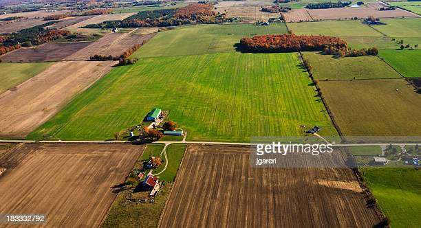 aerial view of farmland - ontario canada stock pictures, royalty-free photos & images