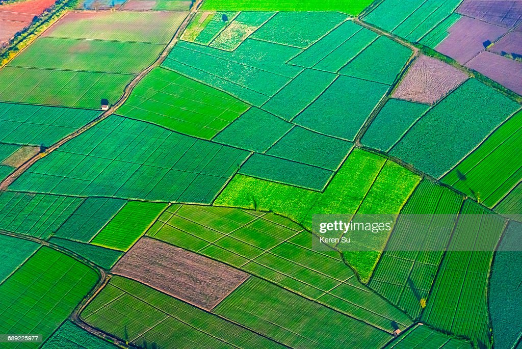 Aerial view of farmland : Stock Photo