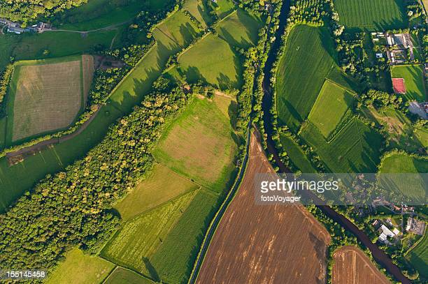 aerial view of farms fields summer landscape - aerial view bildbanksfoton och bilder