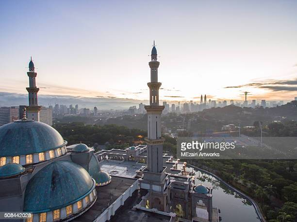 aerial view of federal mosque Kuala Lumpur during sunrise