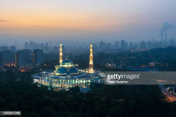 Aerial view of Federal Territory Mosque during sunrise. Federal