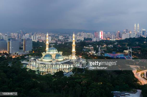 Aerial view of Federal Territory Mosque in night. Federal Territ