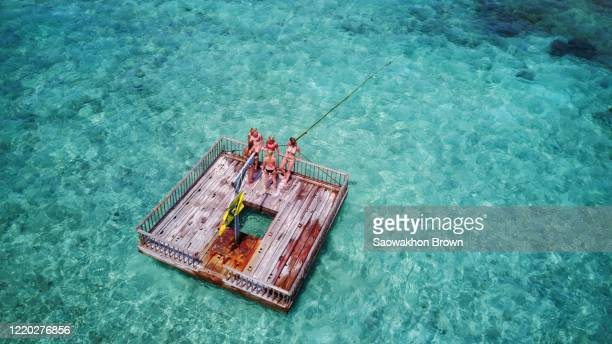 aerial view of female friends relaxing on floating swimming platform pontoon in maldives - pontoon bridge stock pictures, royalty-free photos & images