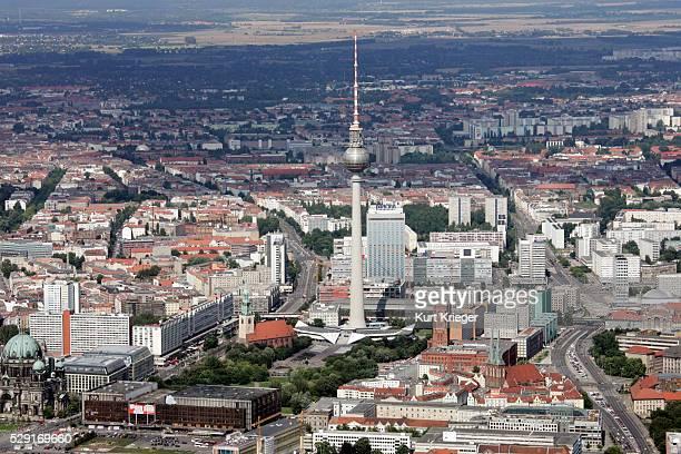 Aerial View Of Fernsehturm In Berlin