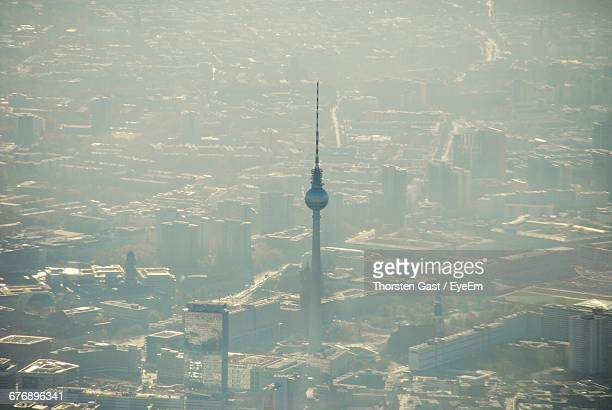 Aerial View Of Fernsehturm In City During Foggy Weather