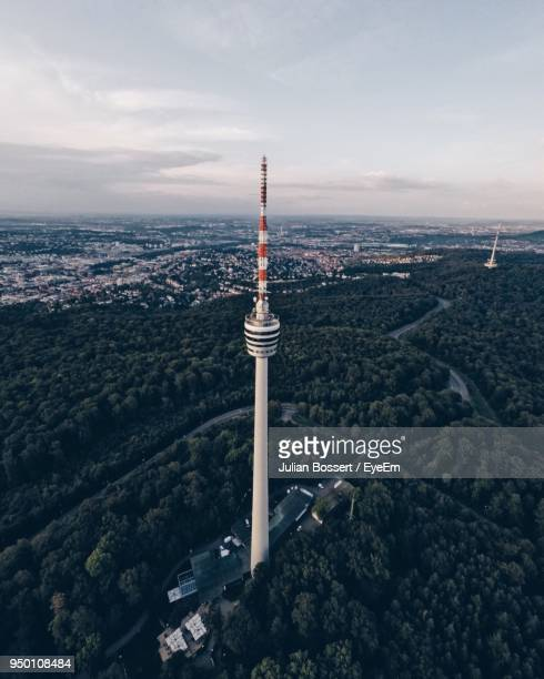 aerial view of fernsehturm stuttgart tower - stuttgart stock pictures, royalty-free photos & images