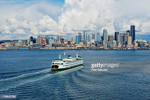 Aerial view of ferry, Seattle, Washington State, USA