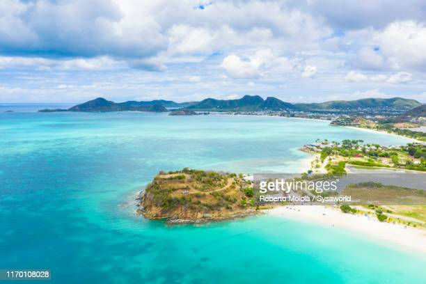 aerial view of ffryes beach, antigua, caribbean - indian ocean stock pictures, royalty-free photos & images