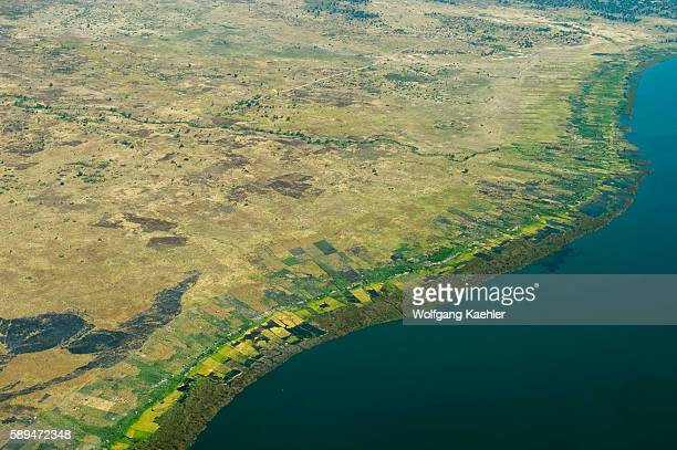 Aerial view of fields and the shoreline of Lake Malawi in Malawi