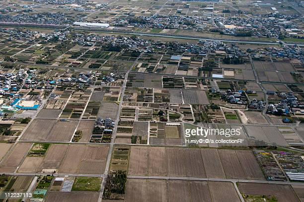 aerial view of fields and village - 瑞浪市 ストックフォトと画像
