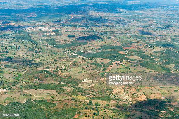 Aerial view of fields on the flight from Chelinda to Mzuzu airport in Malawi