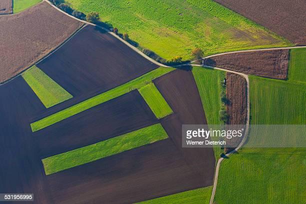 Aerial view of fields, Swabian Alb, Germany