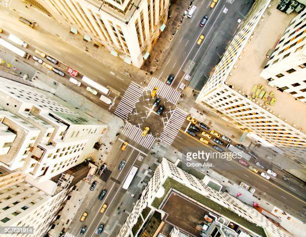 aerial view of fifth avenue - midtown manhattan stock pictures, royalty-free photos & images