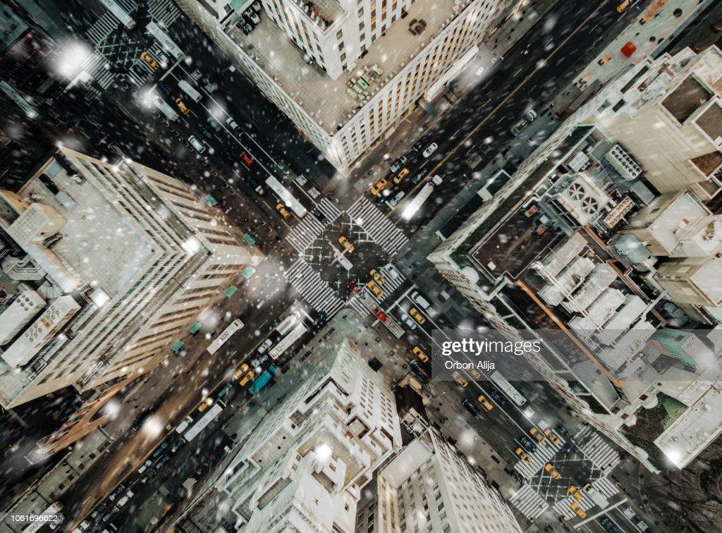 Aerial view of fifth avenue snowing : Stock Photo