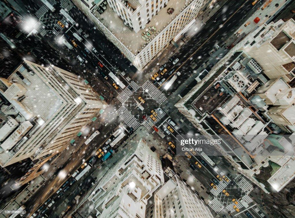 5 番街の雪の空撮 : ストックフォト