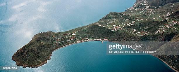 Aerial view of Filicudi in the Aeolian or Lipari Islands Sicily Region Italy