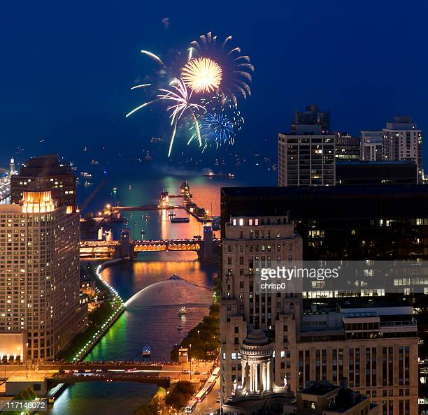 Aerial View of Fireworks Over Chicago at Dusk