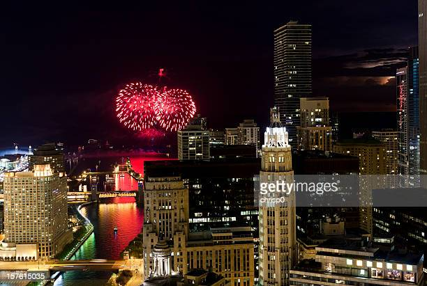 Aerial View of Fireworks Over Chicago