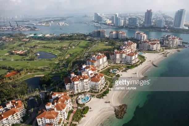 aerial view of fisher island, miami beach, florida - fisher island stock pictures, royalty-free photos & images