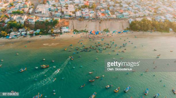 Aerial view of fishermen's boats in the bay