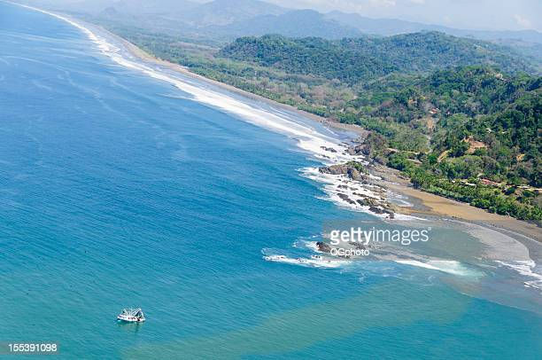 Aerial view of fishing boats near Dominical, Costa Rica