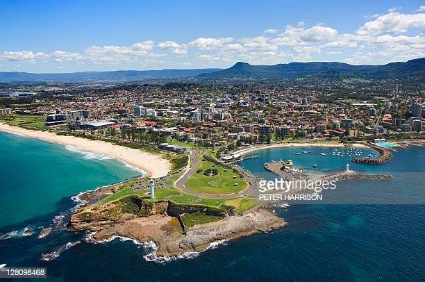 aerial view of flagstaff point, wollongong, nsw, australia - wollongong stock pictures, royalty-free photos & images