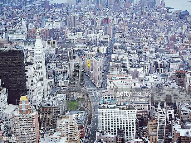 Aerial View Of Flatiron Building Amidst Towers In City