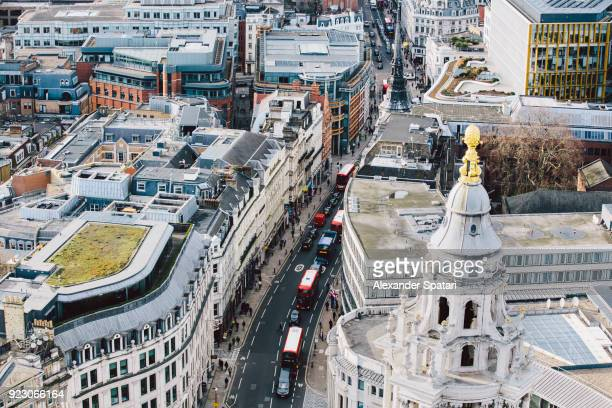 Aerial view of Fleet Street in financial district of London, England, UK