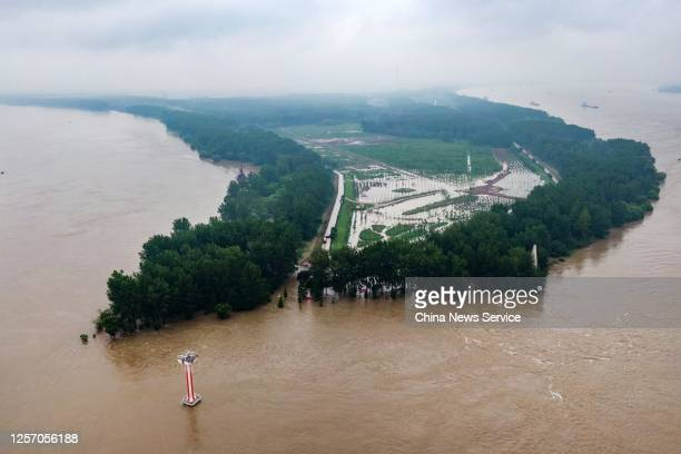 Aerial view of flood waters flowing through the Nanjing section of the Yangtze River on July 18, 2020 in Nanjing, Jiangsu Province of China.