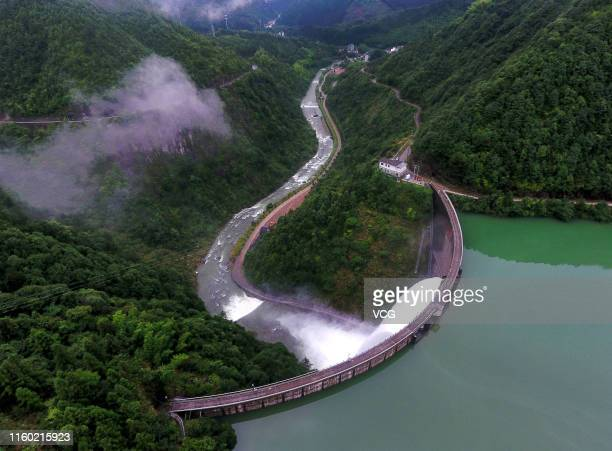 Aerial view of floodwater discharged from a reservoir to control flooding at Wuyi County on July 5 2019 in Jinhua Zhejiang Province of China Jinhua...