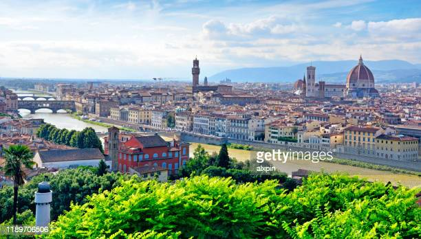 aerial view of florence - florence italy stock pictures, royalty-free photos & images