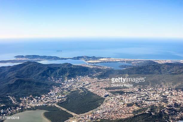 Aerial view of Florianopolis city. Praia da Joaquina, Lagoa da Conceição, Morro da Cruz, Barra da Lagoa, manguezal, Shooping.