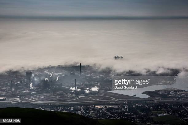 Aerial view of fog surrounding the Port Talbot Steelworks on APRIL 07, 2015. Located between the M4 motorway and the Bristol Channel, the Port Talbot...