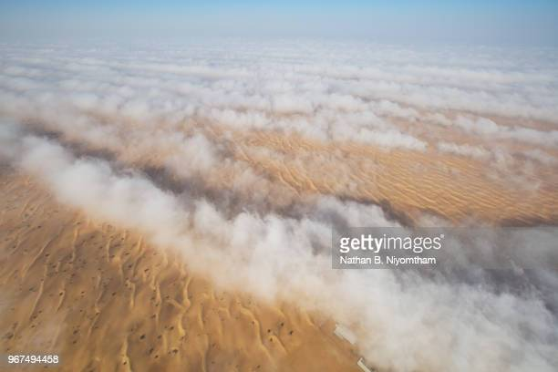 Aerial View of Foggy Desert