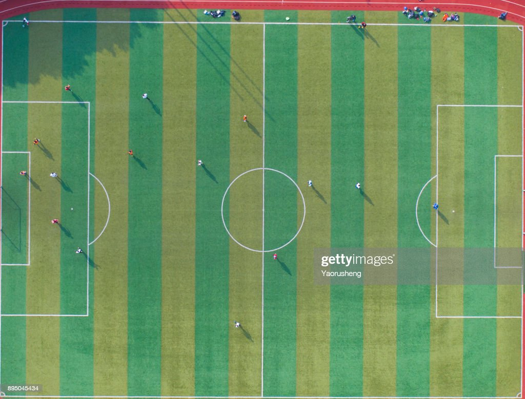 Aerial view of football field from above : Stock Photo
