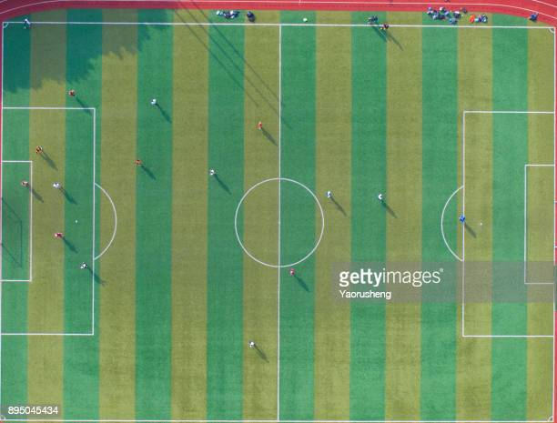 aerial view of football field from above - draft sports stock pictures, royalty-free photos & images