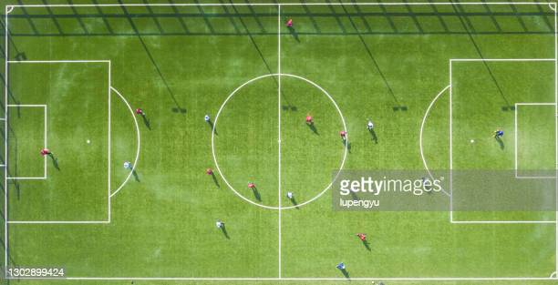 aerial view of football field - football pitch stock pictures, royalty-free photos & images