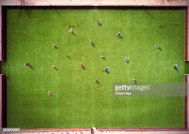 Luftaufnahme des Fußballspiels