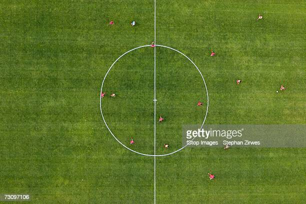 aerial view of football match - manufactured object stock pictures, royalty-free photos & images