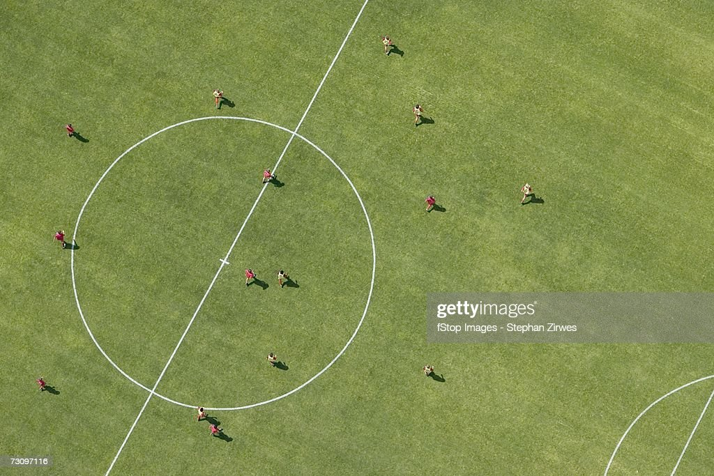 Aerial view of football match : Stock Photo