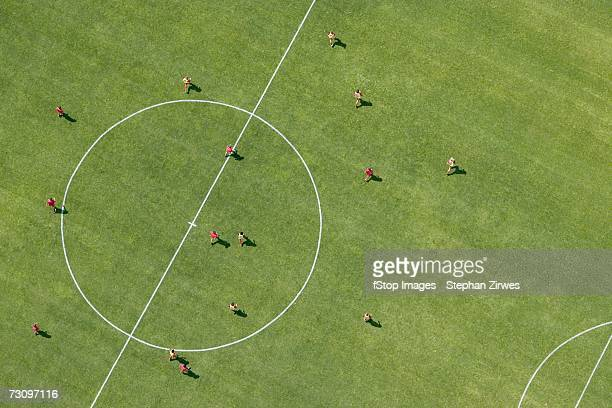 aerial view of football match - match sport imagens e fotografias de stock