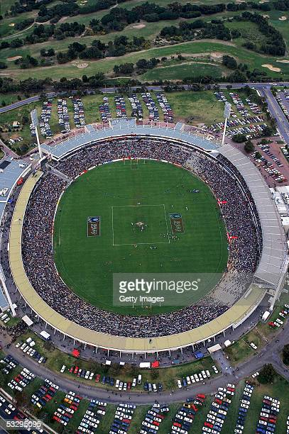 A aerial view of Football Park during a AFL match held in Adelaide Australia