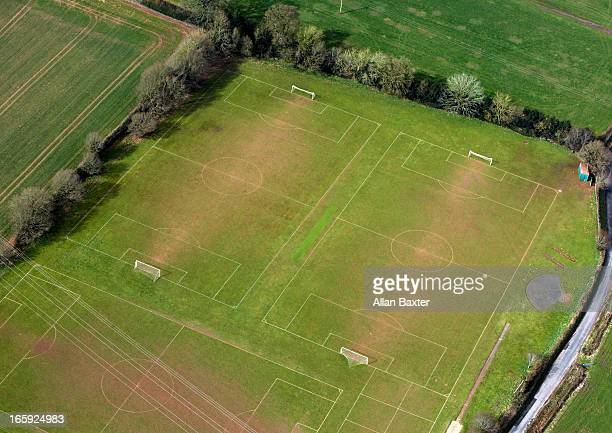 aerial view of football pitches - football pitch stock pictures, royalty-free photos & images