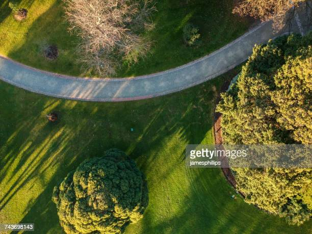 Aerial view of footpath, Melbourne, Victoria, Australia