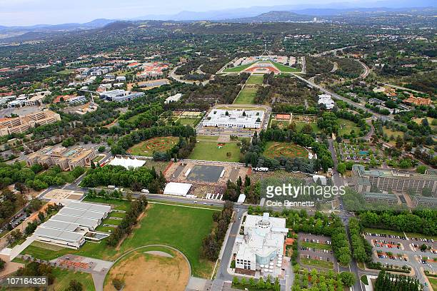 Aerial view of Foreshore Music Festival in the heart of the Parliament sector on November 27 2010 in Canberra Australia