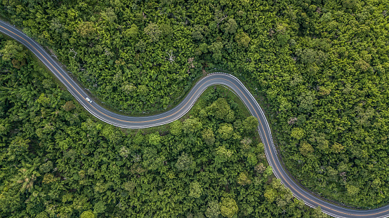 Aerial view of forest road at South East Asia, Aerial view of a provincial road passing through a forest, Thailand. 983801528