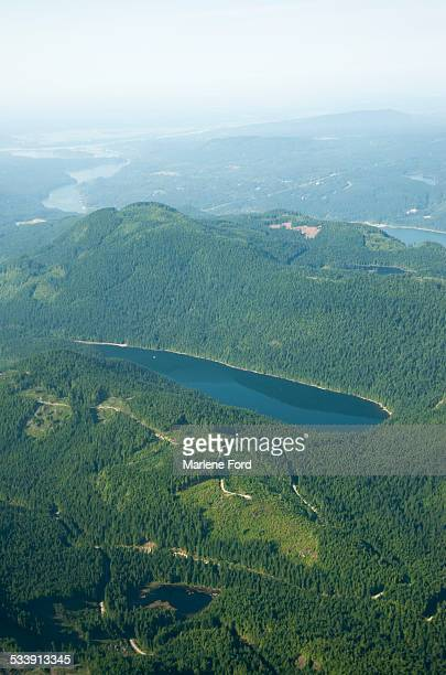 Aerial view of forests and lakes