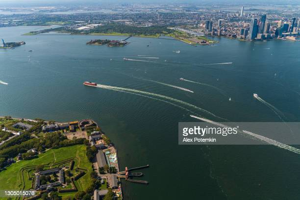 aerial view of fort jay on the governors island, with the distant view of new jersey over hudson river. - new york harbour stock pictures, royalty-free photos & images