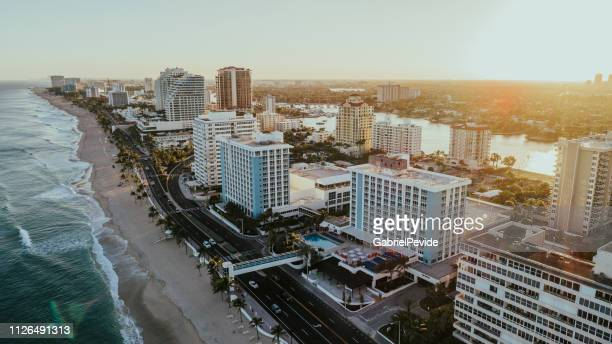 aerial view of fort lauderdale beach florida - fort lauderdale stock pictures, royalty-free photos & images