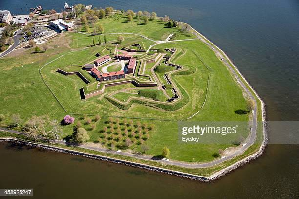 aerial view of fort mchenry national monument - fortress stock pictures, royalty-free photos & images